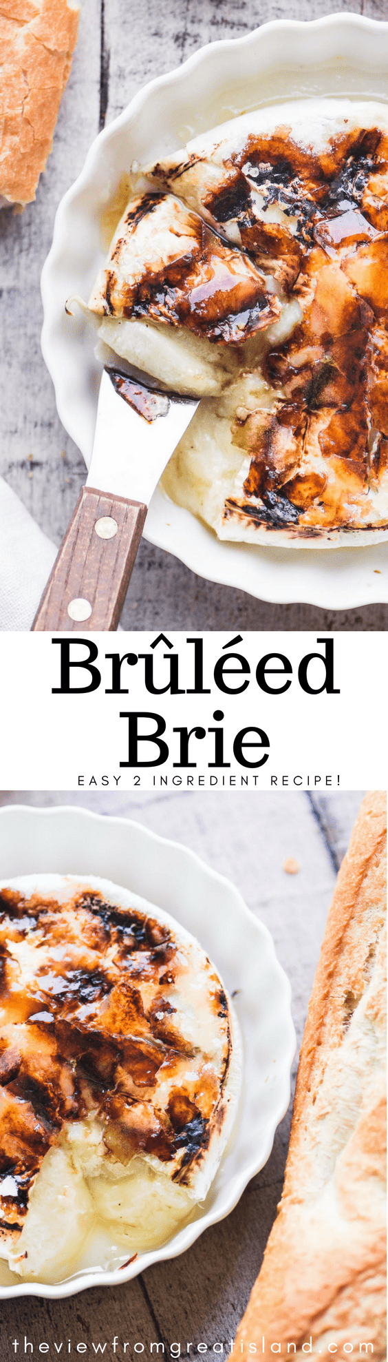 Brûléed Brie ~ this is your wow appetizer for the season ~ you only need a wheel of Brie and some sugar to do this, and the results speak for themselves.  #bakedbrie #bakedcheese #appetizer #holidayappetizer #easyholidayappetizer #thanksgivingappetizer #Christmasappetizer #brulee #caramel #bestbakedbrie #amazingappetizer #bakedbrierecipe