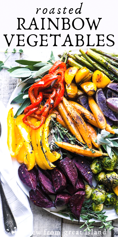 Easy Roasted Rainbow Vegetables pin.