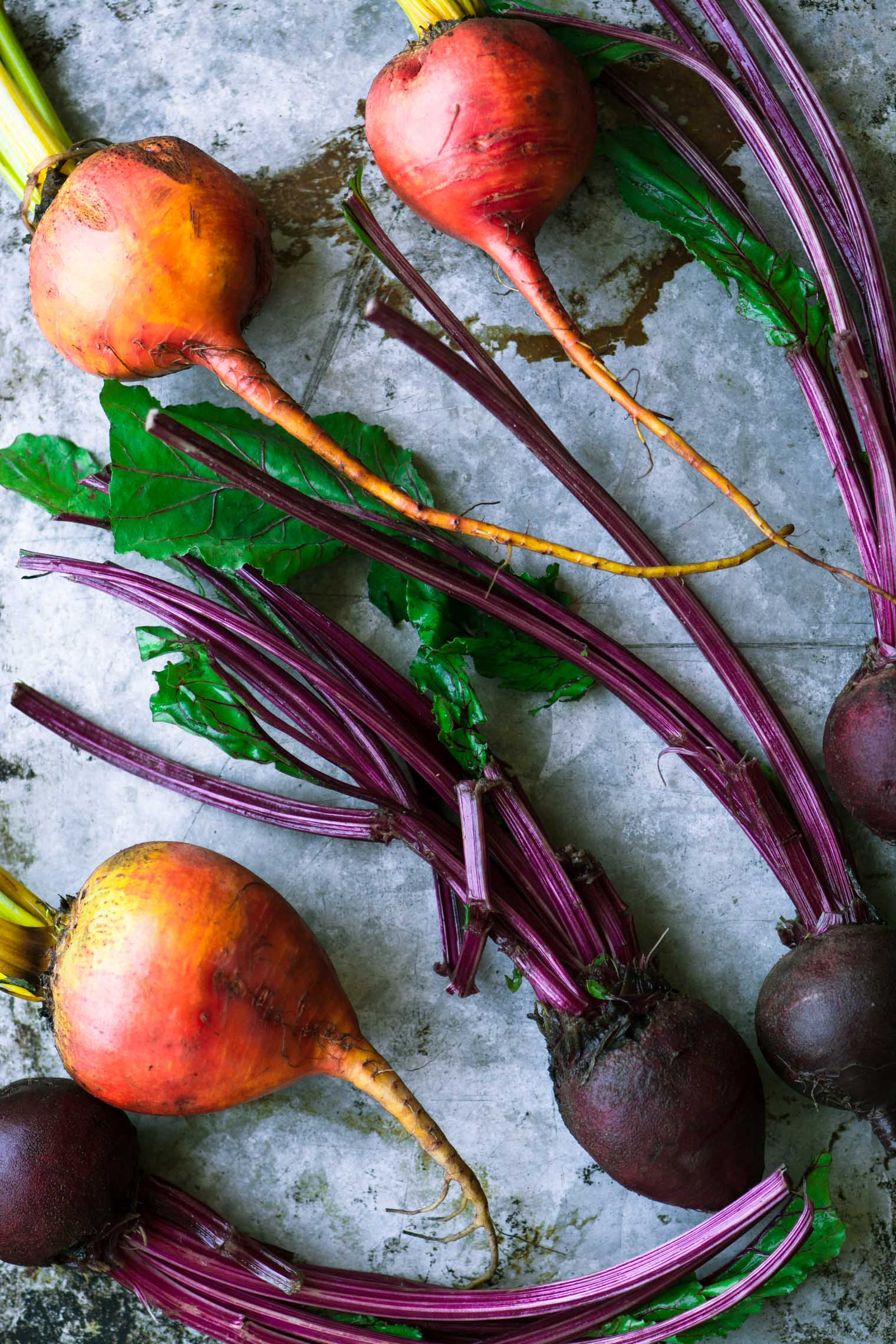 beets on a metal surface