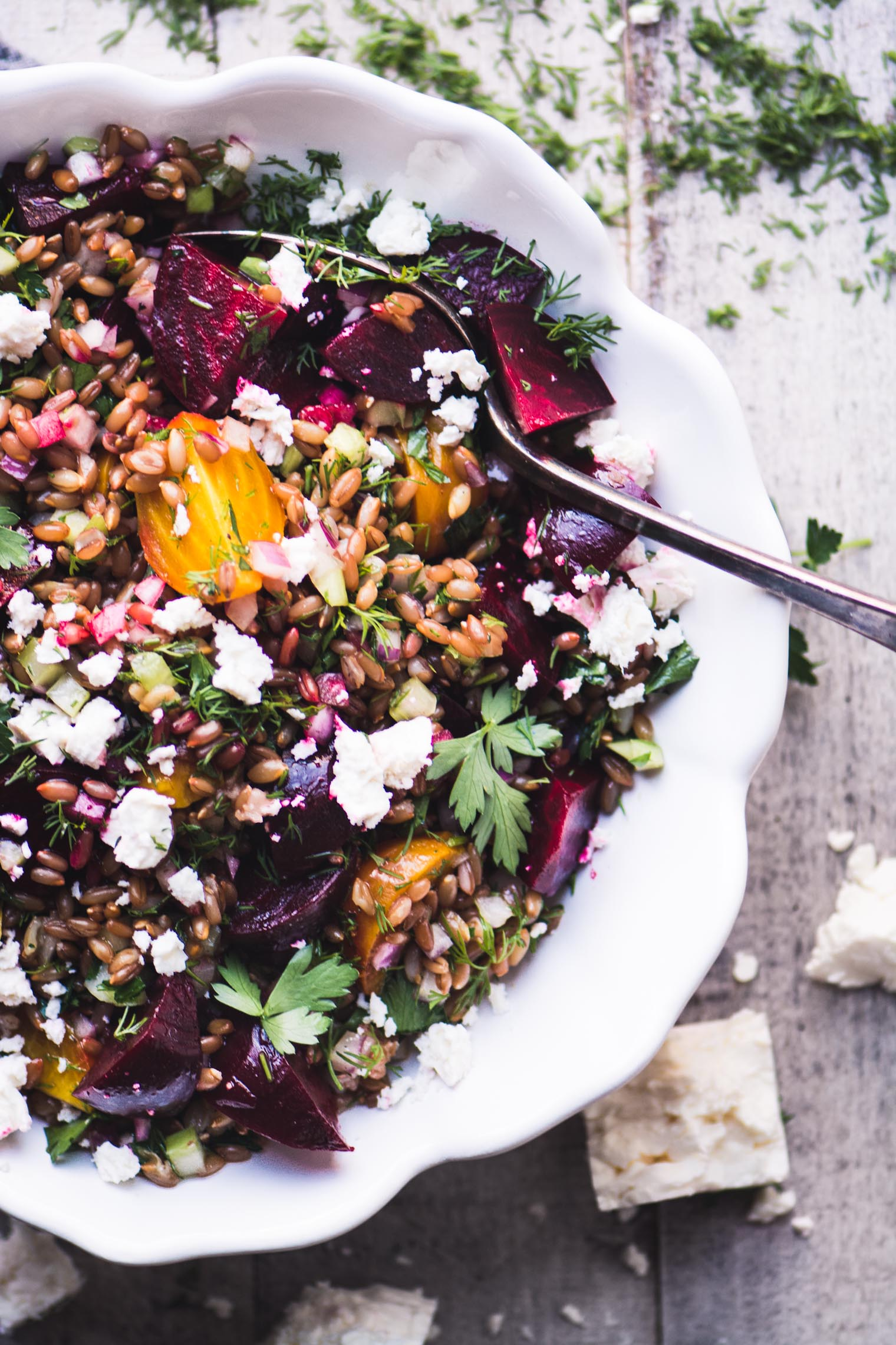 colorful and healthy wheat berry salad