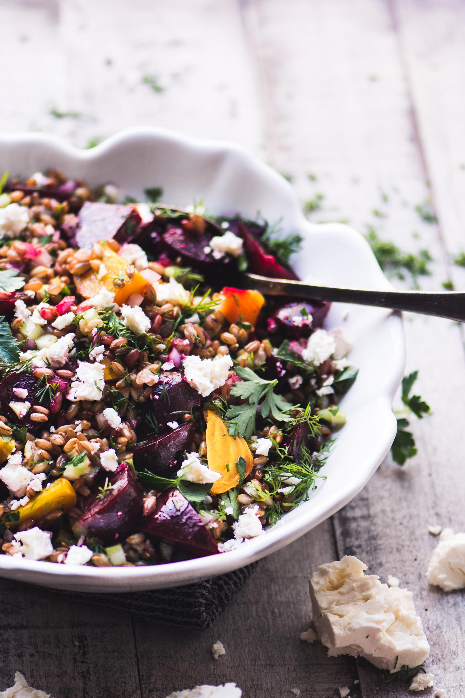 wheat berry salad with roasted beets