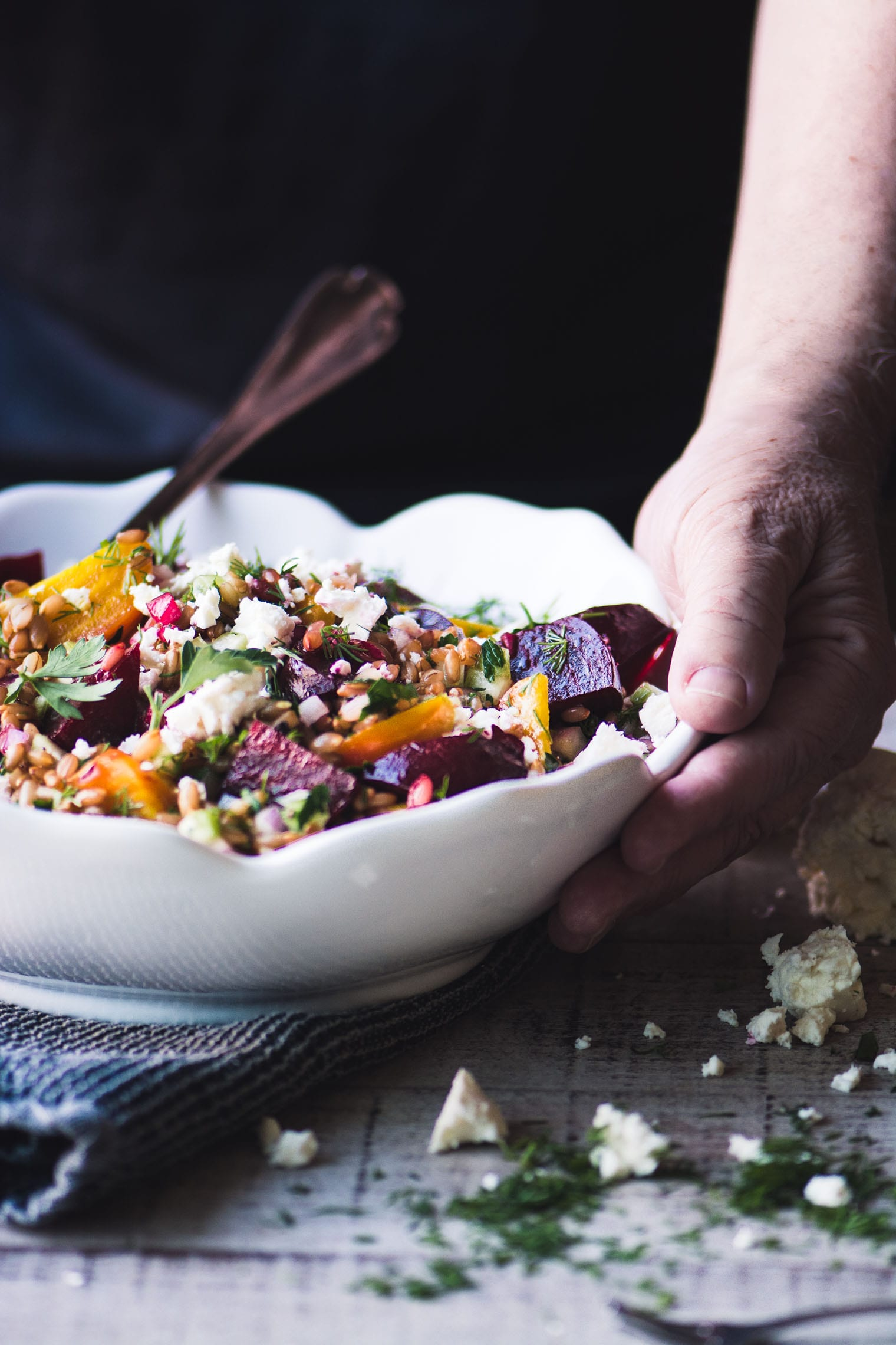 wheat berry salad with beets and feta in a bowl
