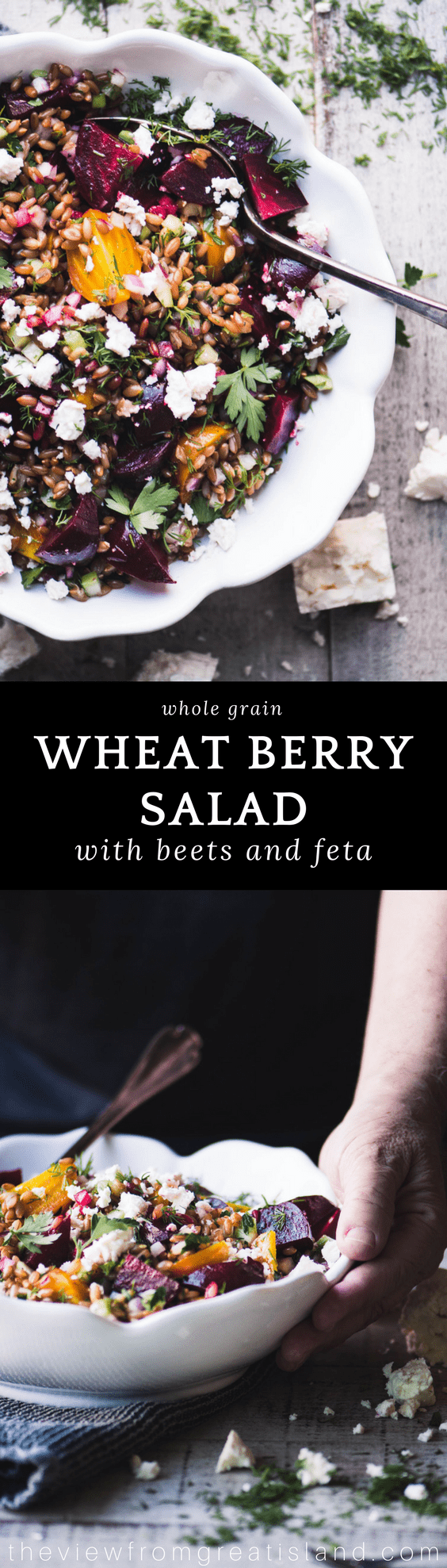 Wheat Berry Salad with Beets and Feta ~ this earthy whole grain salad is stunning enough for your holiday table, and don't be surprised if the carnivores in your group jump ship and join the vegetarians! #salad #wholegrains #wheatberries #grainsalad #sidedish #Thanksgiving #vegetarian #vegan #Whole30 #Thanksgivingsidedish #Thanksgivingsalad #beets #healthy #wintersalad #highfiber #protein #farro #spelt #emmer #frekkah