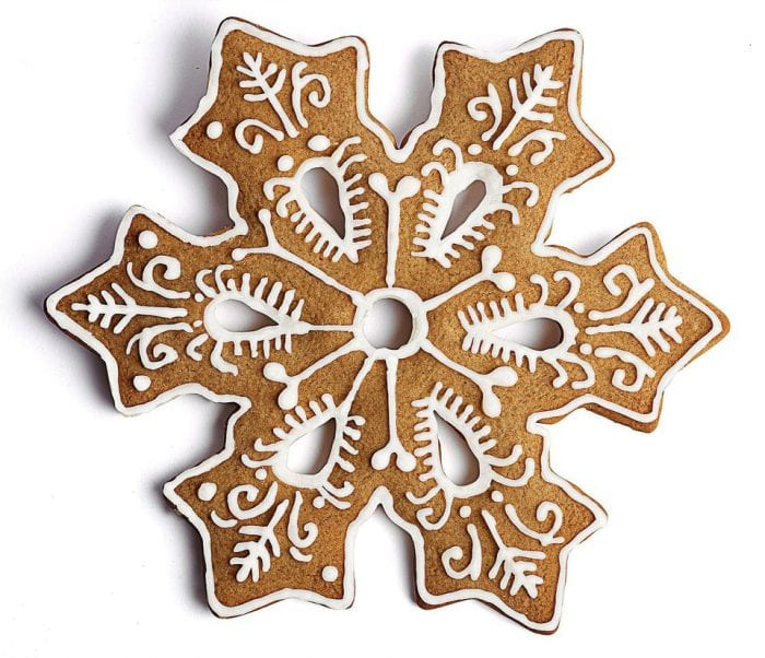 Iced gingerbread snowflake cookie