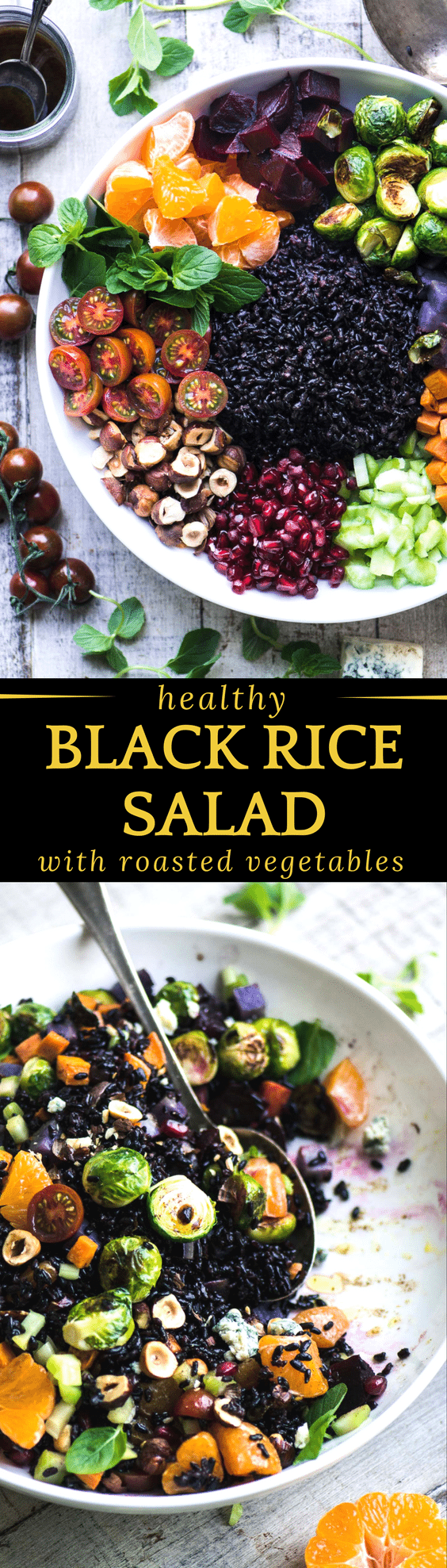 Black Rice Salad with Roasted Vegetables ~ this clean-out-the-fridge salad can be changed up in countless ways depending on what you have around. #salad #rice #blackrice #grainbowl #lunch #healthy #glutenfree #bowl #buddhabowl #blissbowl #glowbowl #healthylunch