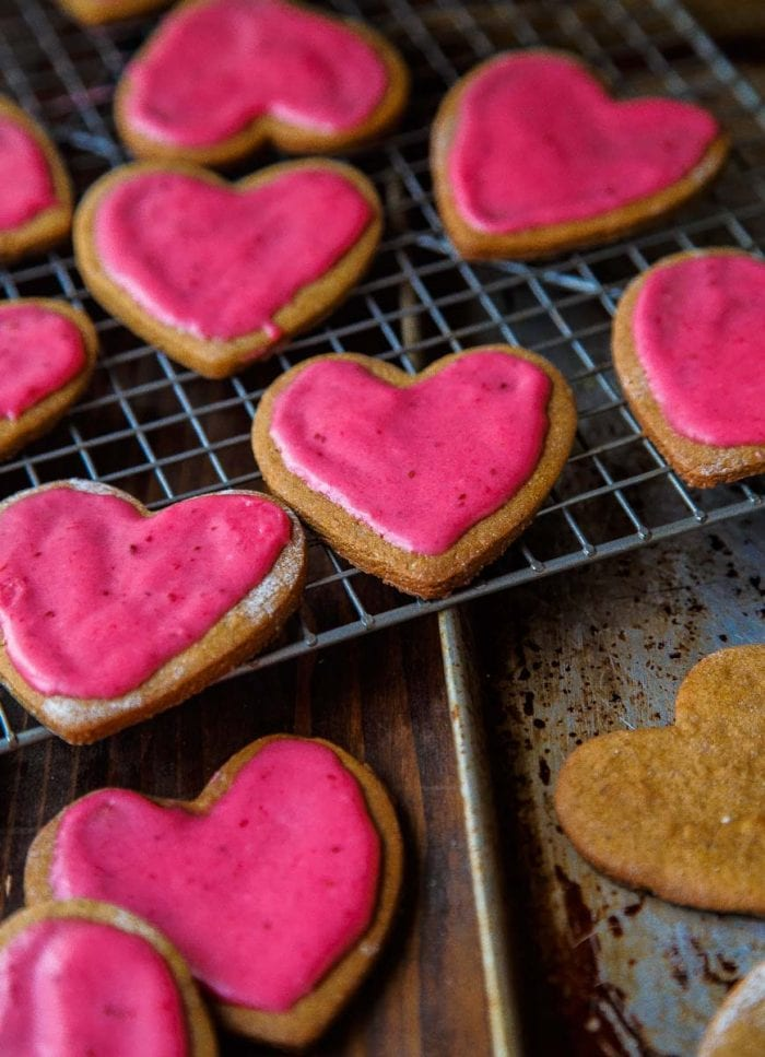 cranberry glazed gingerbread hearts