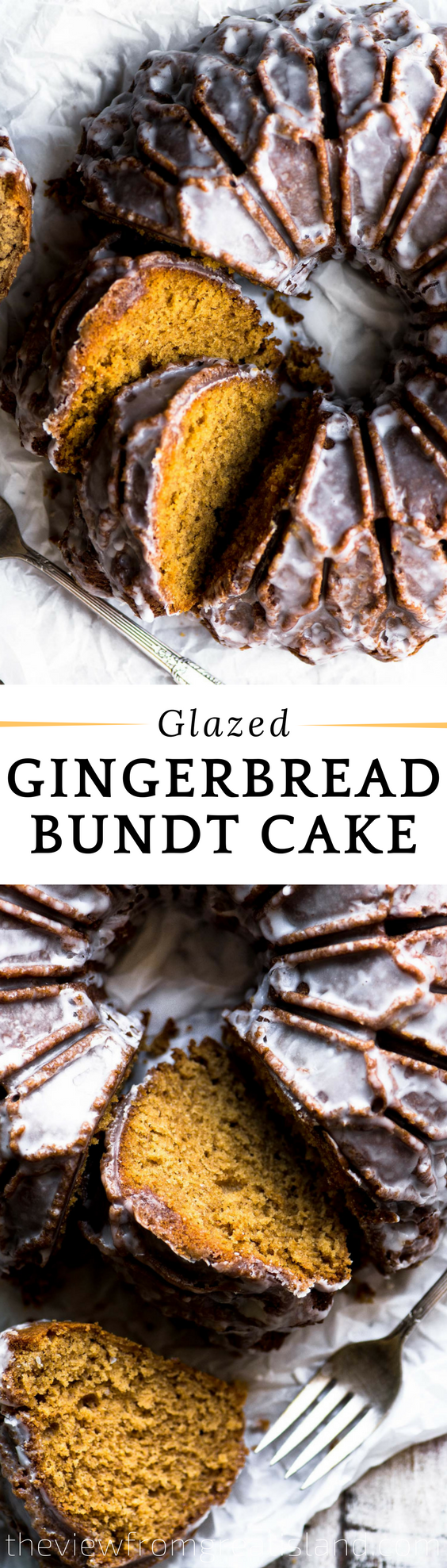 Glazed Gingerbread Bundt Cake ~ A tender lightly spiced gingerbread cake iced with a thin sugar glaze ~ this delicious cake is guaranteed to get you in the holiday spirit. #cake #gingerbread #bundtcake #bestgingerbreadcake #Christmascake #holidaycake #coffeecake #breakfastcake #dessert #coffeebreak #brunchcake #fallcake #wintercake