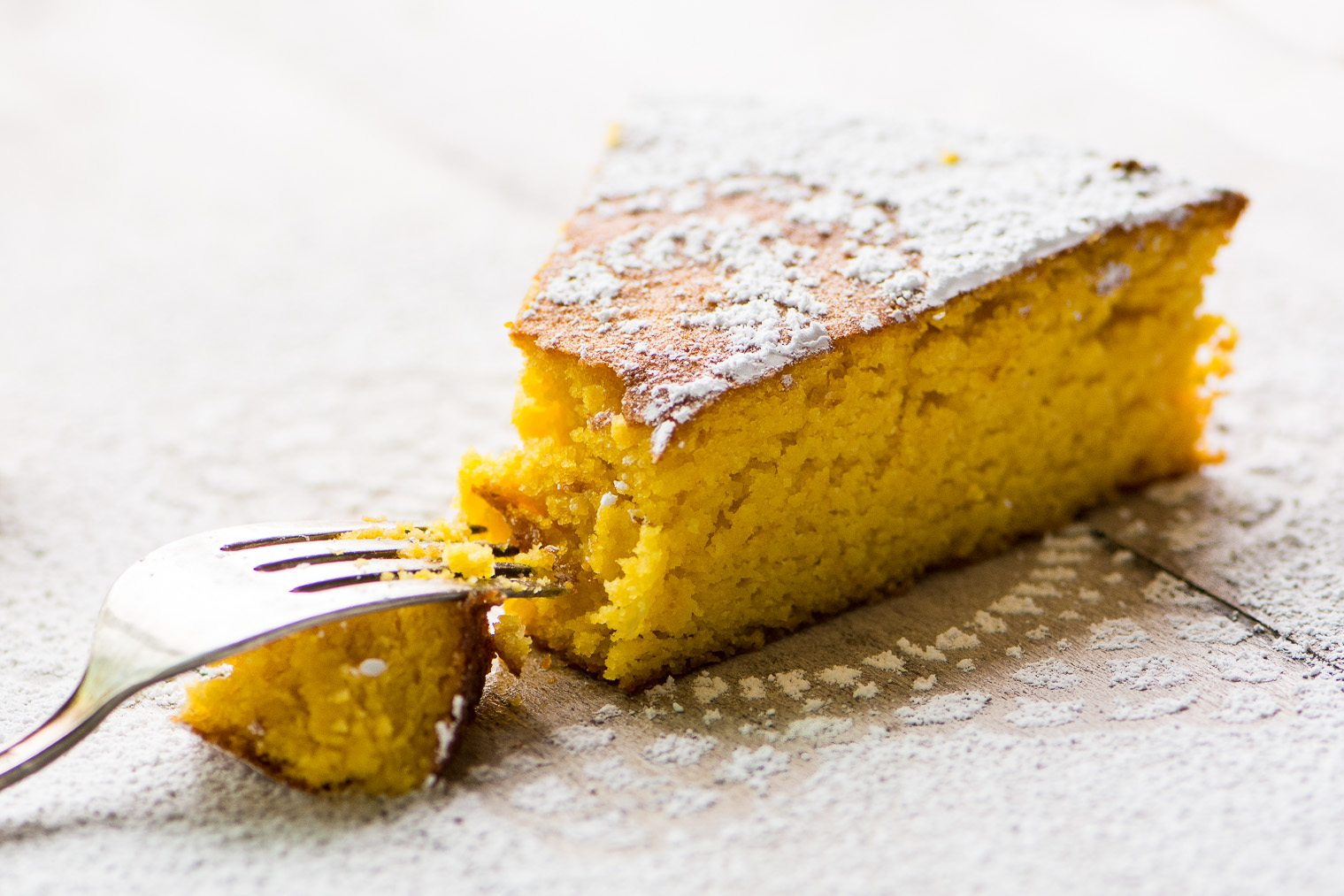 A slice of Gluten Free Tangerine Cake ~ image