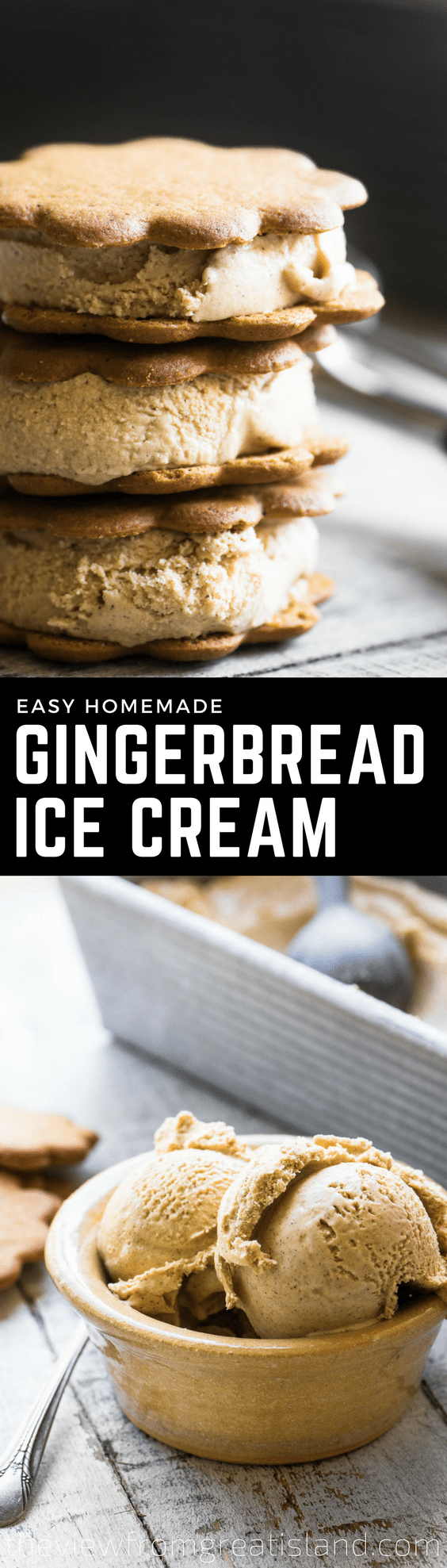 Homemade Gingerbread Ice Cream ~ my latest ice cream obsession is bursting with the warm spicy flavor of the best gingerbread! #icecream #dessert #gingerbread #holiday #christmas #fall Christmasdessert #Thanksgivingdessert #holidaydessert #homemadeicecream #easyicecream #icecreamrecipe #noeggicecream #glutenfreedessert