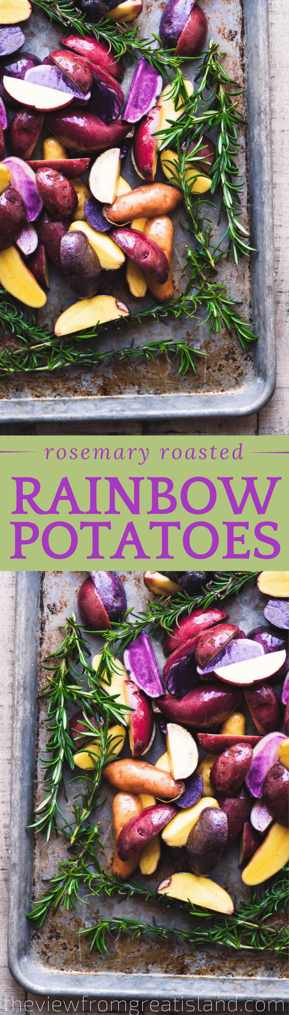 Rosemary Roasted Rainbow Potatoes are a colorful and easy side dish that brings some excitement to the table, and they're no more trouble to make than regular roasted potatoes. #sidedish #rainbow #newpotatoes #roastedpotatoes #easysidedish #dinner #redpotatoes #bluepotatoes #purplepotatoes