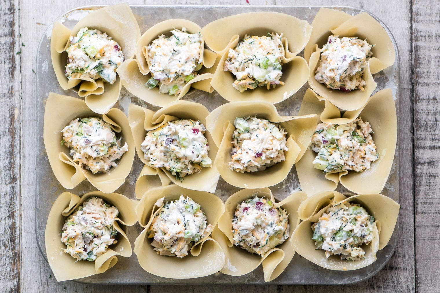 Spicy Tuna Wonton Cups, ready for baking ~ image