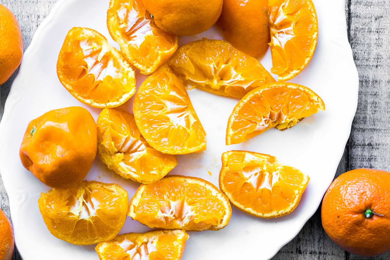 Cut tangerines for a Gluten Free Tangerine Cake