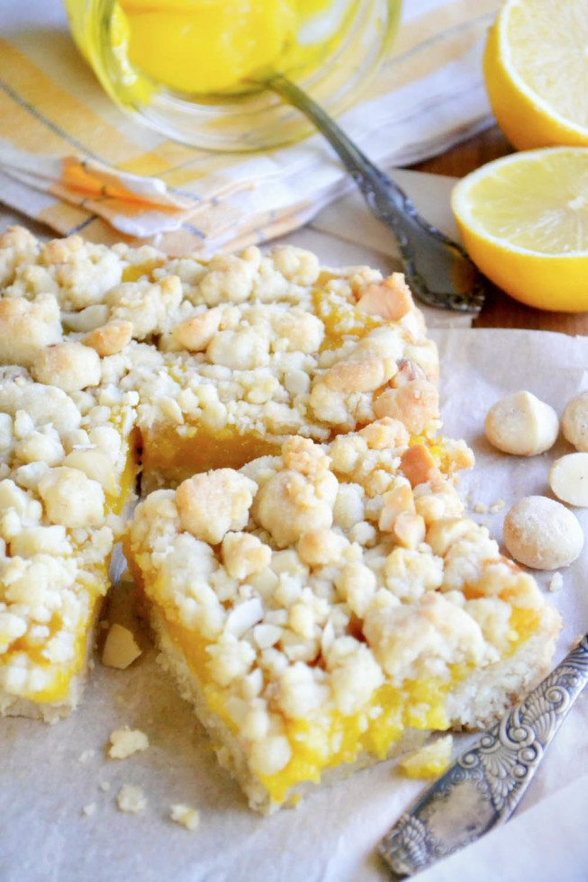 Meyer Lemon Macadamia Nut Crumble Bars, sliced