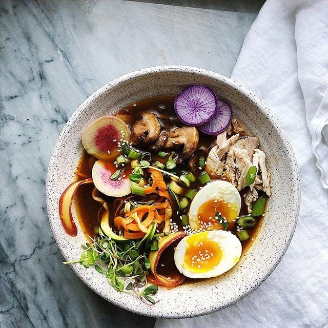 ramen noodle bowl with eggs