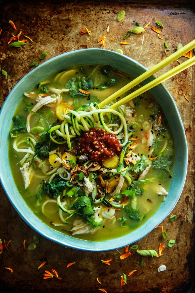 ginger and sesame zoodle soup