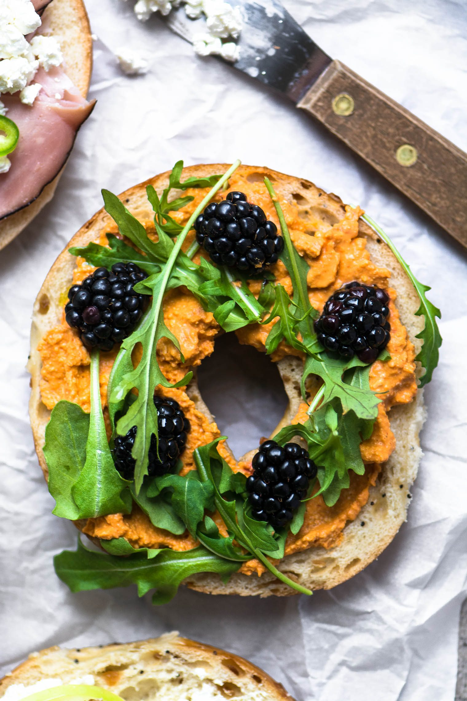 Irresistible Bagel Toast (your new favorite snack!) Bagel half topped with berries