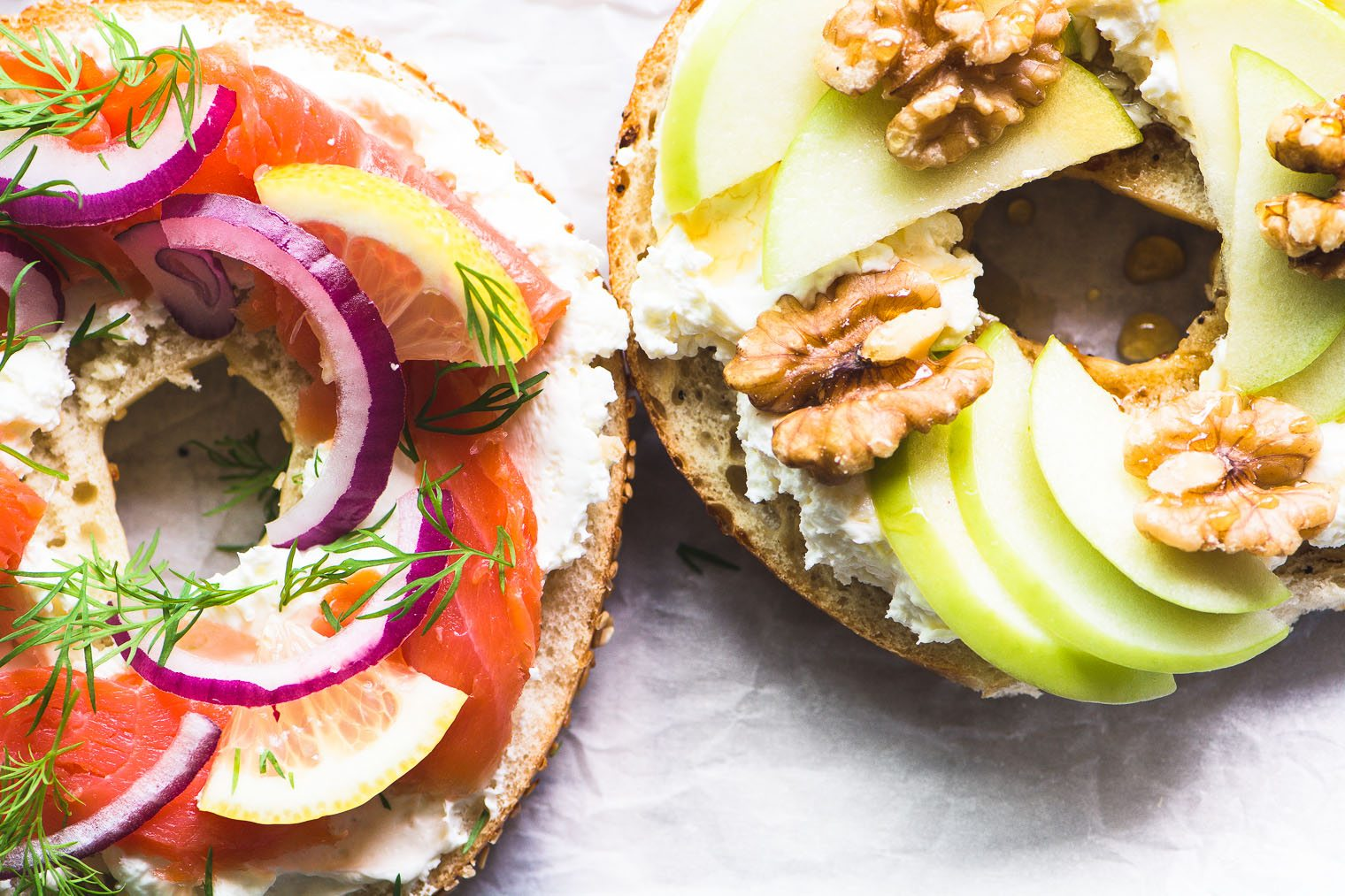 Irresistible Bagel Toast (your new favorite snack!) Bagel halves topped with colorful toppings