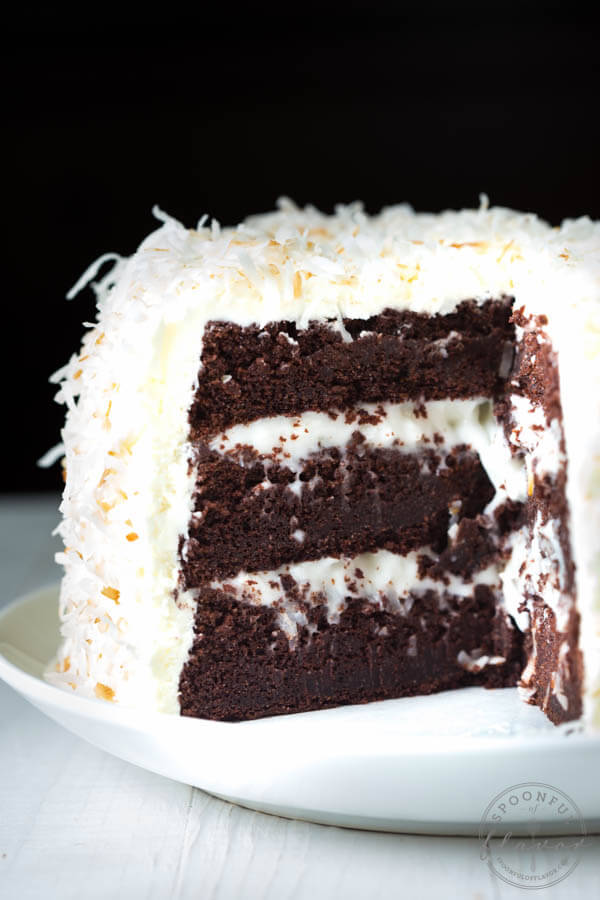 chocolate cake with coconut frosting