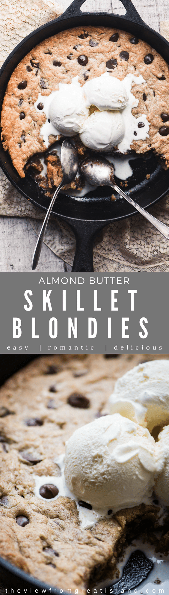 These Almond Butter Skillet Blondies are an easy one bowl skillet dessert that makes a quick treat for the family, or the perfect ending to a romantic evening. #dessert #skilletbrownies #Valentinesday #blondies #almondbutter #onebowl #chocolatechips #chocolatechipblondies #brownies #puddingcake #romanticdessert #skilletdessert