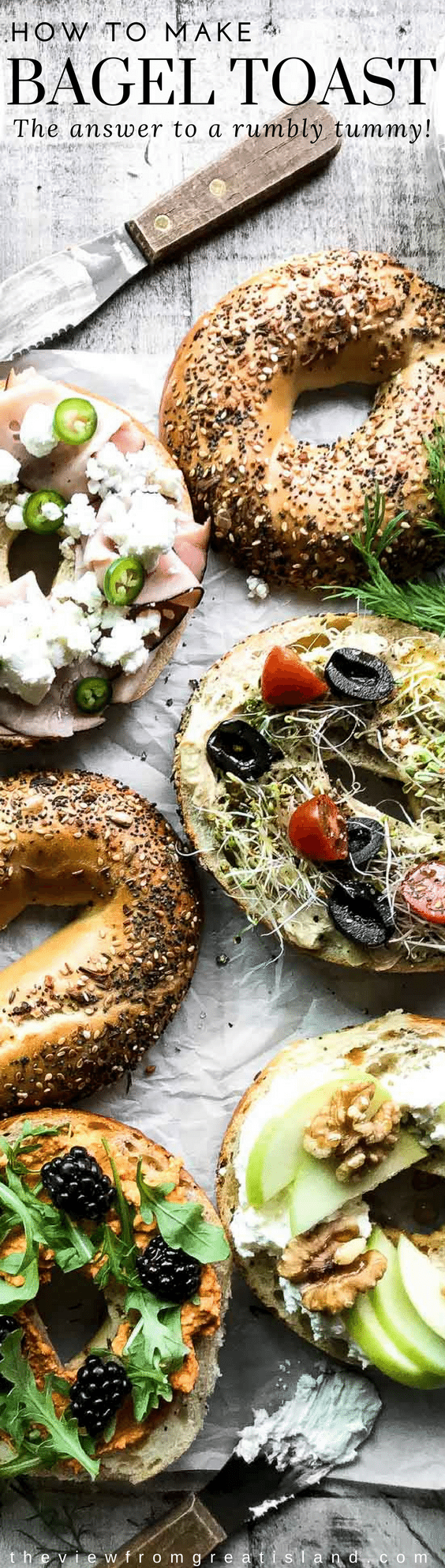 Bagel Toast ~ whether it's a Game Day bagel bar for a crowd, or a snack for one, these bagel toasts are hearty, healthy, and yummy ~ you can layer them up in a million delicious ways! #bagelbar #bageltoast #snacks #gameday #bagels #avocadotoast #breakfast #brunch #brunchbuffet #buffetrecipe #toast #sandwich #openfacedsandwich