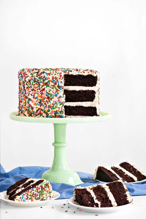 sprinkled layer cake