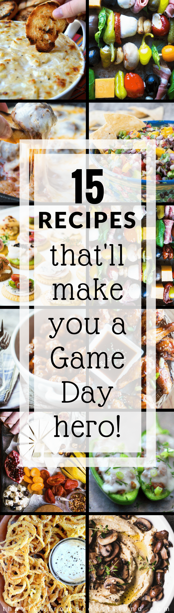 What's the score? Doesn't matter ~ everybody's a winner with these 15 Game Day Recipes. From chips and dips to meatballs and more, I've got all your bases covered for a slam dunk event. #appetizers #fingerfood #GameDayGrub #partyfood #dips #chipsanddip #chickenwings #salsa #cocktailmeatballs #sportsfood #tailgating