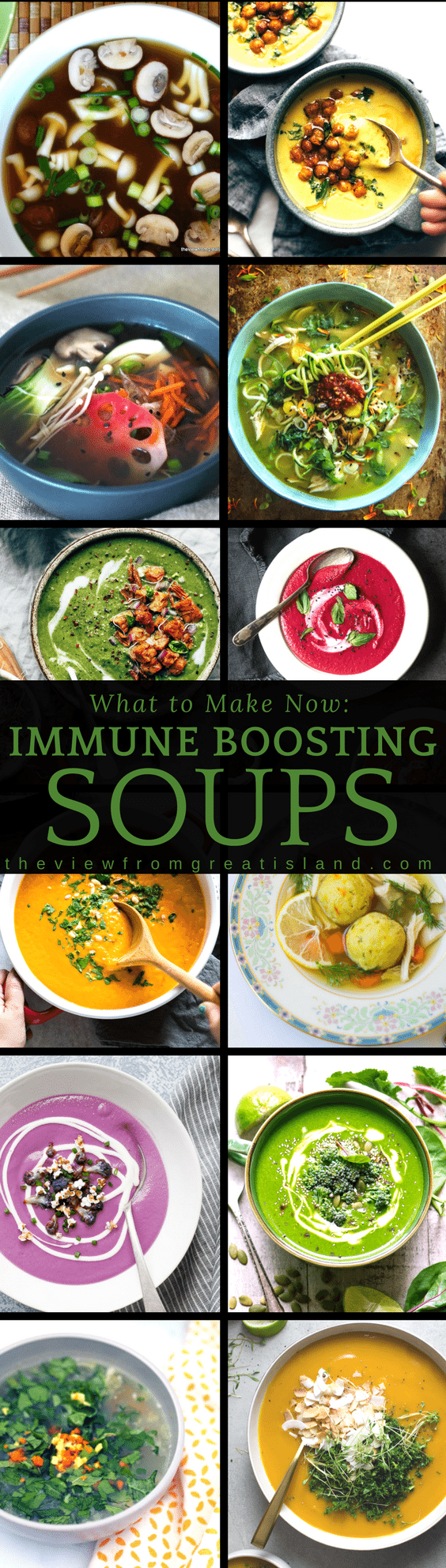 These healing soups are packed with immune boosting powerhouse ingredients like spinach, garlic, turmeric, saffron, and ginger. Whether you're fighting a flu or just trying to stay warm this winter, these recipes will keep you both healthy AND cozy! #soup #healthysoup #healing #immuneboost #chickensoup #beetsoup #turmeric #ginger #garlic #antiovidant #greensoup #misosoup #carrotsoup #comfortfood