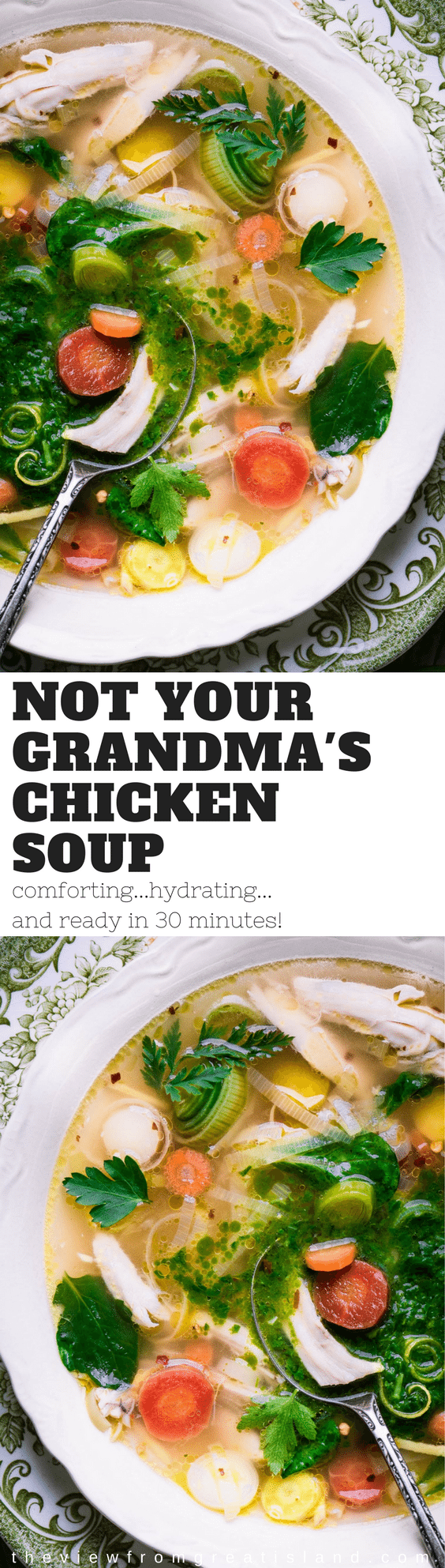 It's definitely not your grandma's chicken soup ~ for one thing, this vibrant soup won't be simmering on the stove all day, it's ready in 30 minutes. #soup #chickensoup #quickchickensoup #chickensouprecipe #flufighter #flubuster #vegetablesoup #Swanson #chickenbroth #bonebroth