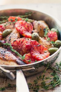 Roast Chicken with Blood Orange and Olives