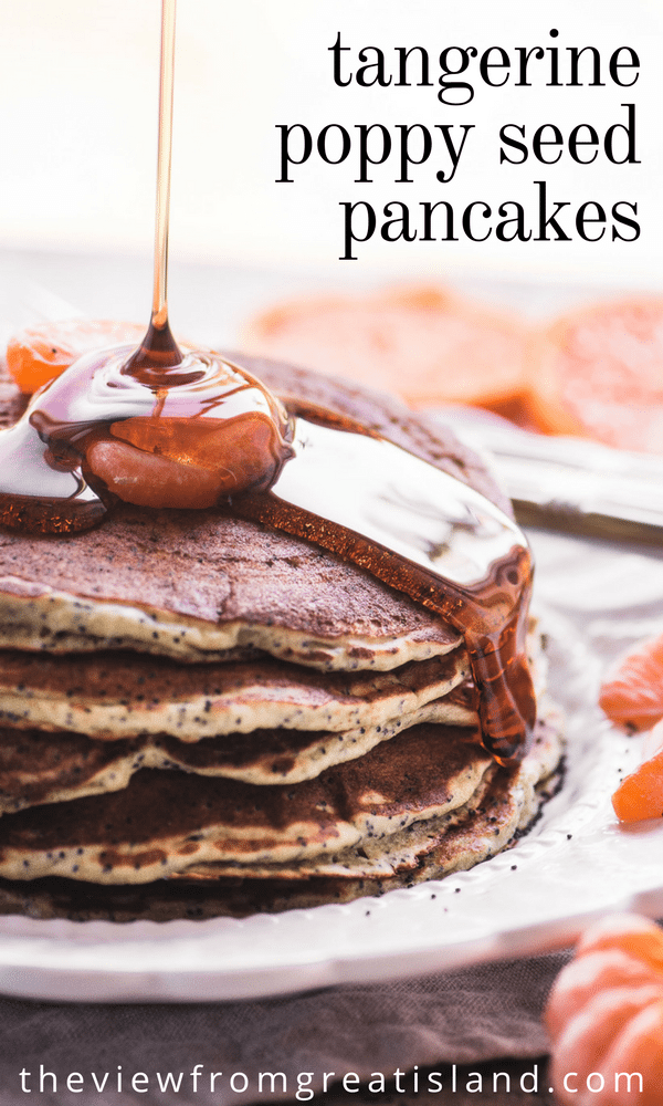 Tangerine Poppy Seed Pancakes are a variation on one of my most popular recipes. Fresh tangerine juice, Greek yogurt, and crunchy poppy seeds make a lighter and healthier version of everybody's favorite pancake breakfast. #pancakes #poppyseeds #poppyseedpancakes #breakfast #citrus #orangepoppyseed #bestpancakes #healthypancakes