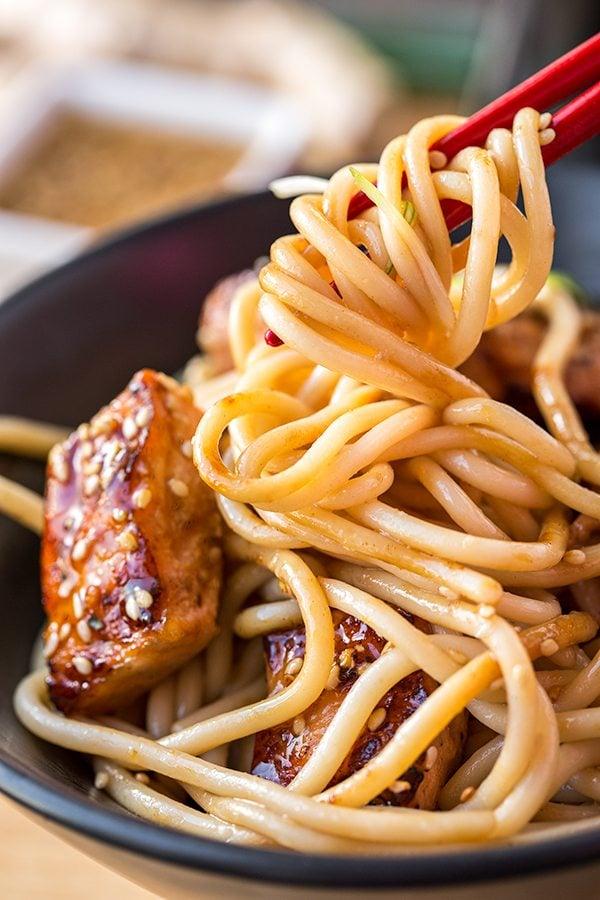 close-up of noodles