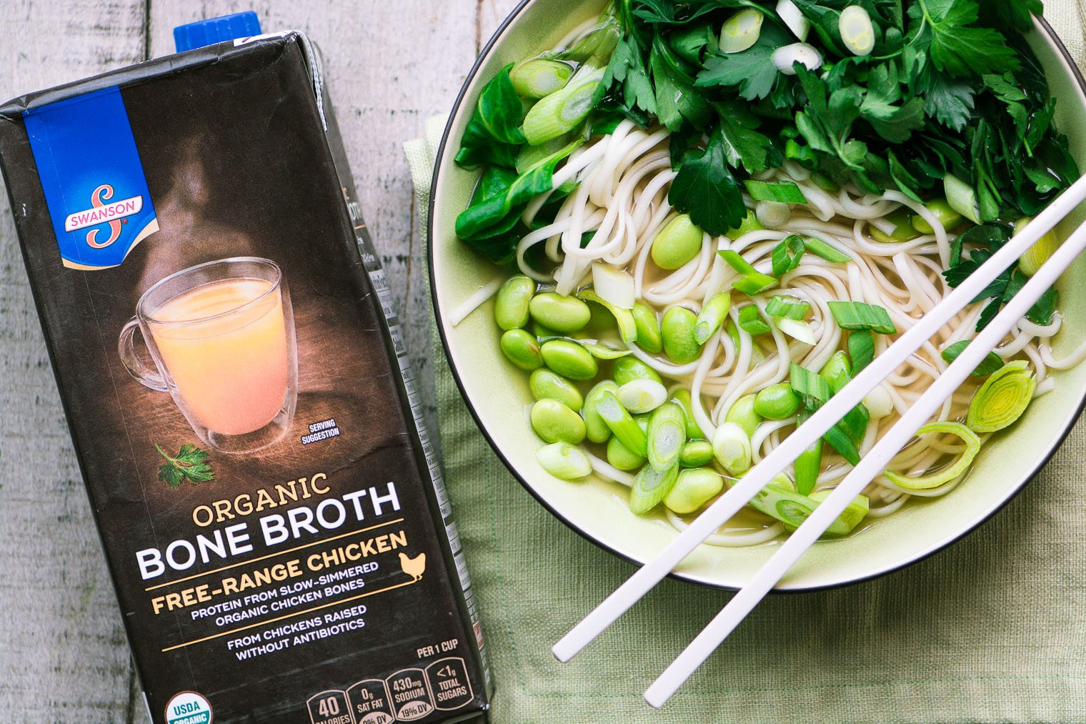 healthy and low fat Bone Broth Noodle Bowl with Herbs imagery