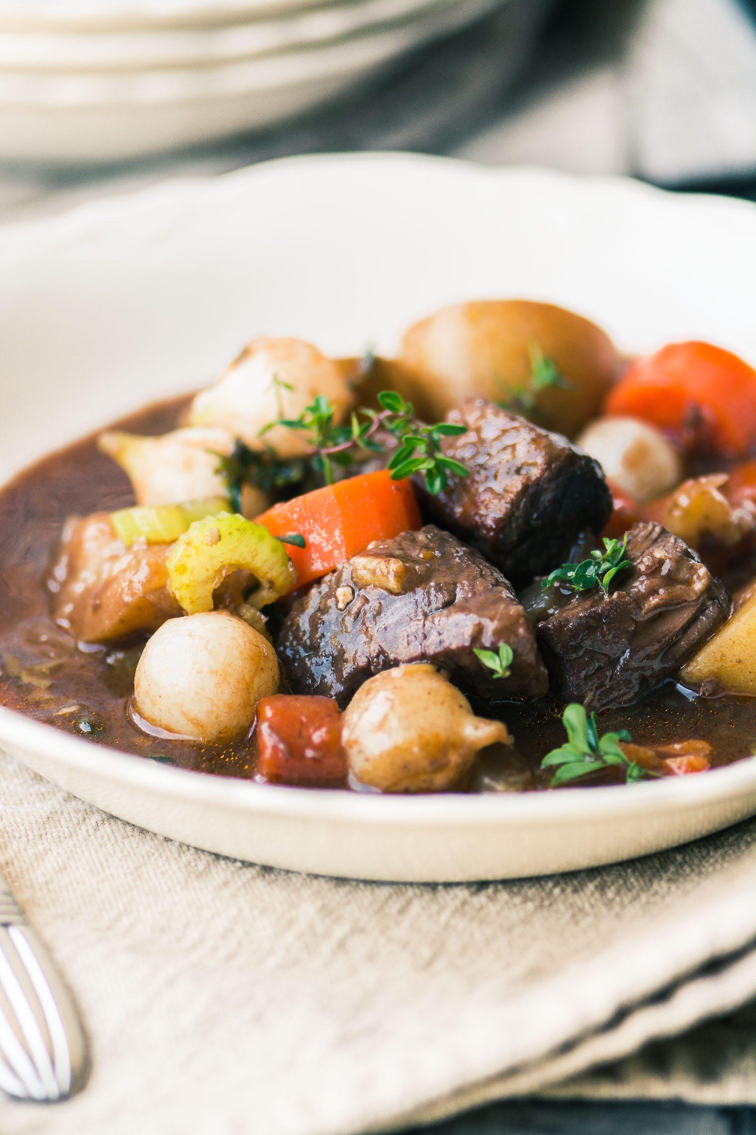 Instant Pot Beef Bourguignon in a white bowl