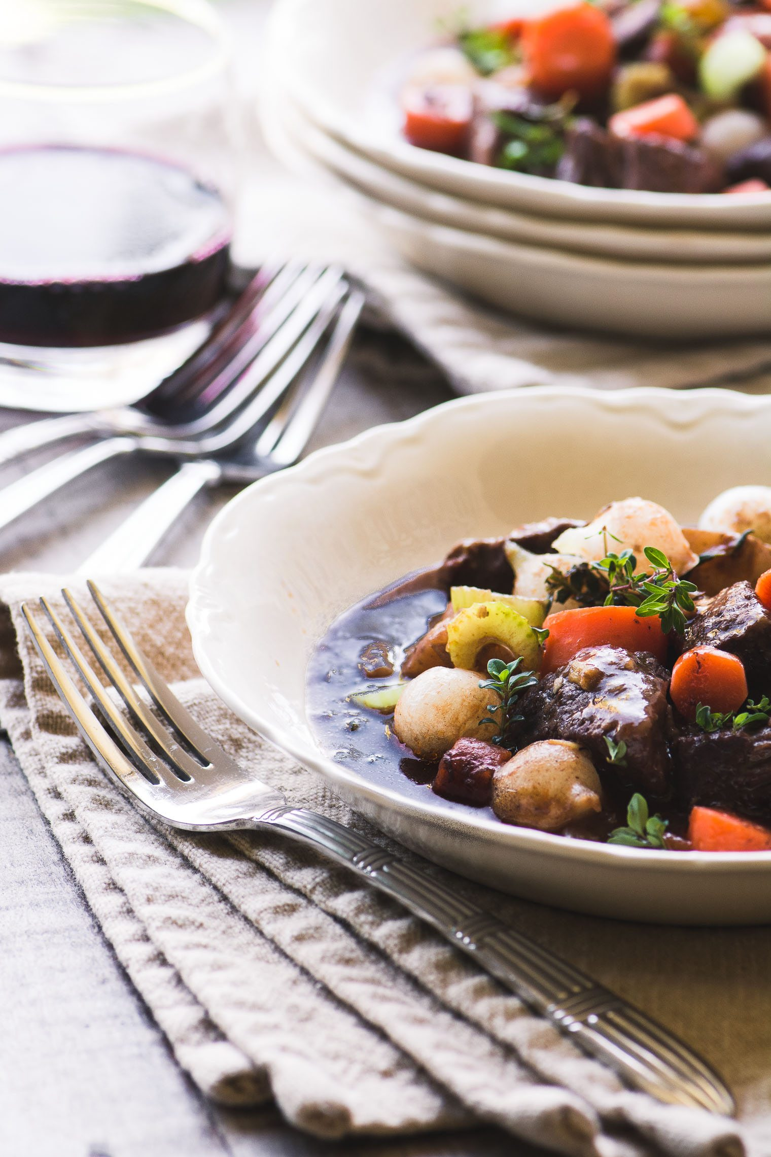 Instant Pot Beef Bourguignon in a bowl