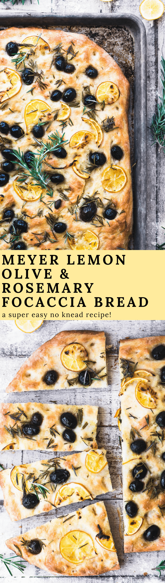 Rosemary and Olive No Knead Focaccia Bread with paper thin slices of Meyer lemon is a quick yeast bread you'll come back to time and again. #appetizer #bread #noknead #bestfocacciabread #focaccia #Italianbread #quickbread #easybread #breadrecipe #flatbread #yeastbread #easyyeastbread #meyerlemon #olives #rosemary #herbbread