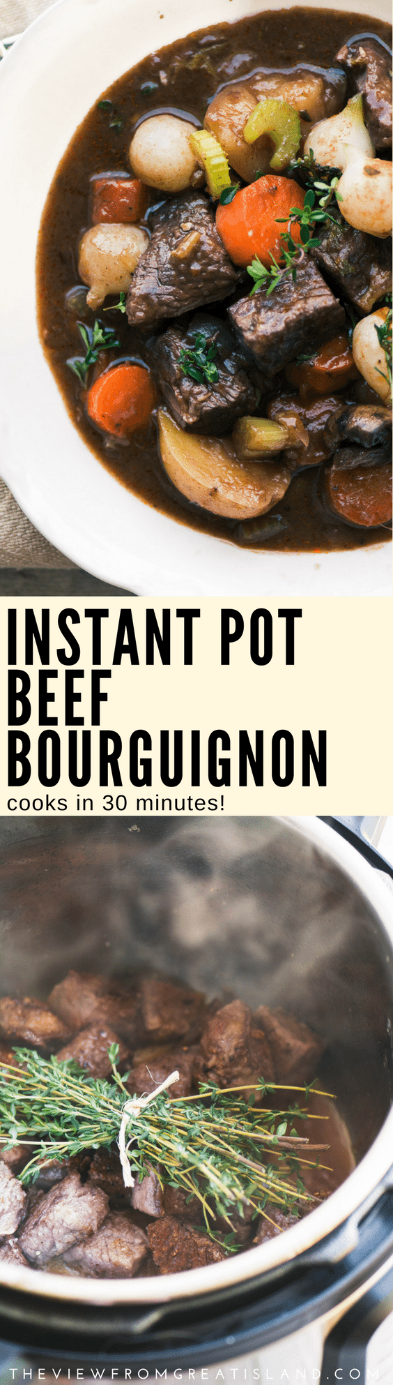 brThe Best Instant Pot Beef Bourguignon ~ this epic beef stew cooks in just 30 minutes in the amazing Instant Pot. The meat is melt in your mouth tender and the famous French flavors shine through ~ don't miss this one! #stew #instantpot #pressurecookerstew #beef #beefstew #angusbeef #dinner #maincourse #bestbeefstew #easybeefstew #French #bourguignon #redwinestew