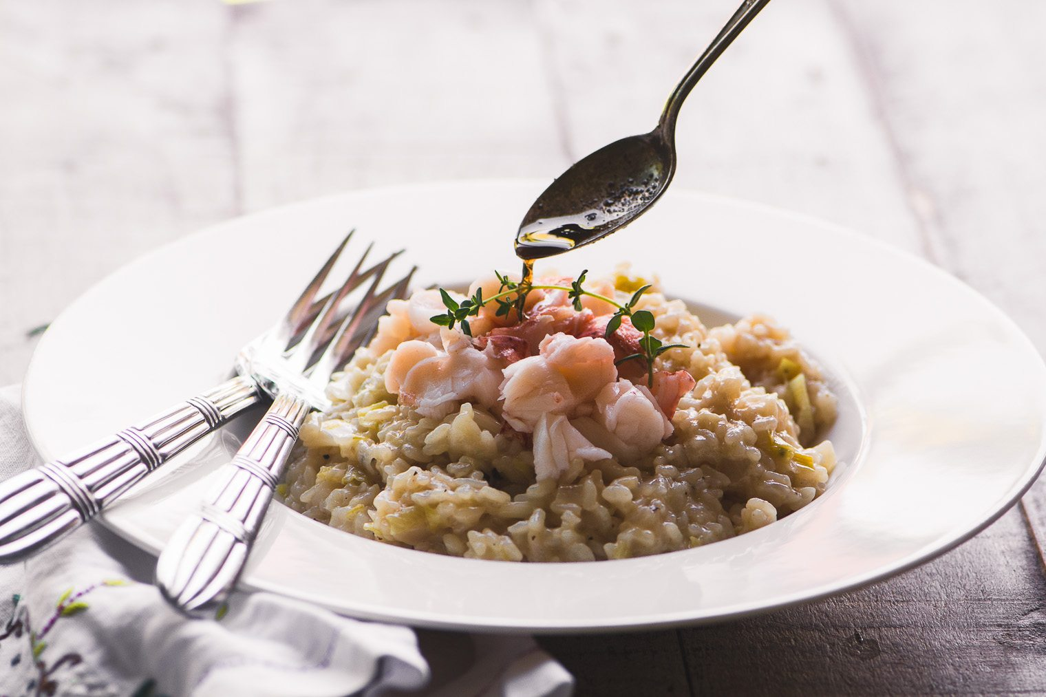 A bowl of Instant Pot Lobster Risotto