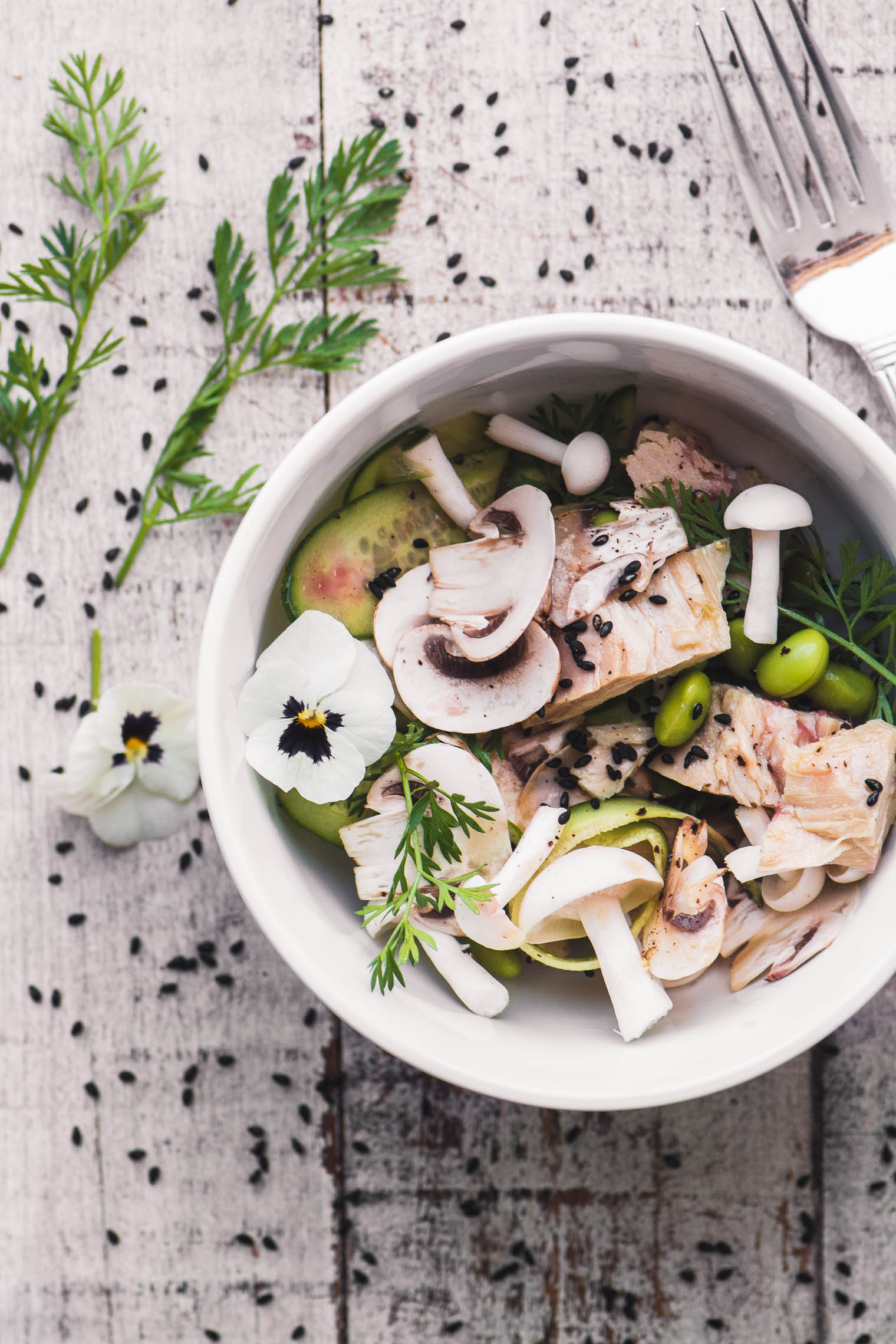 a small bowl of tuna salad