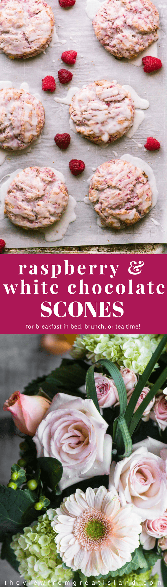 These berrylicious Raspberry White Chocolate Scones have the uncanny ability to brighten anyone's morning. Pop a couple of these pretty bakery style scones on a tray with a great cup of coffee and some fresh debi lilly design™ flowers and you've got the makings for one epic breakfast in bed! #valentinesday #romantic #breakfast #scones #raspberryscones #whitechocolate #raspberries #breakfastinbed
