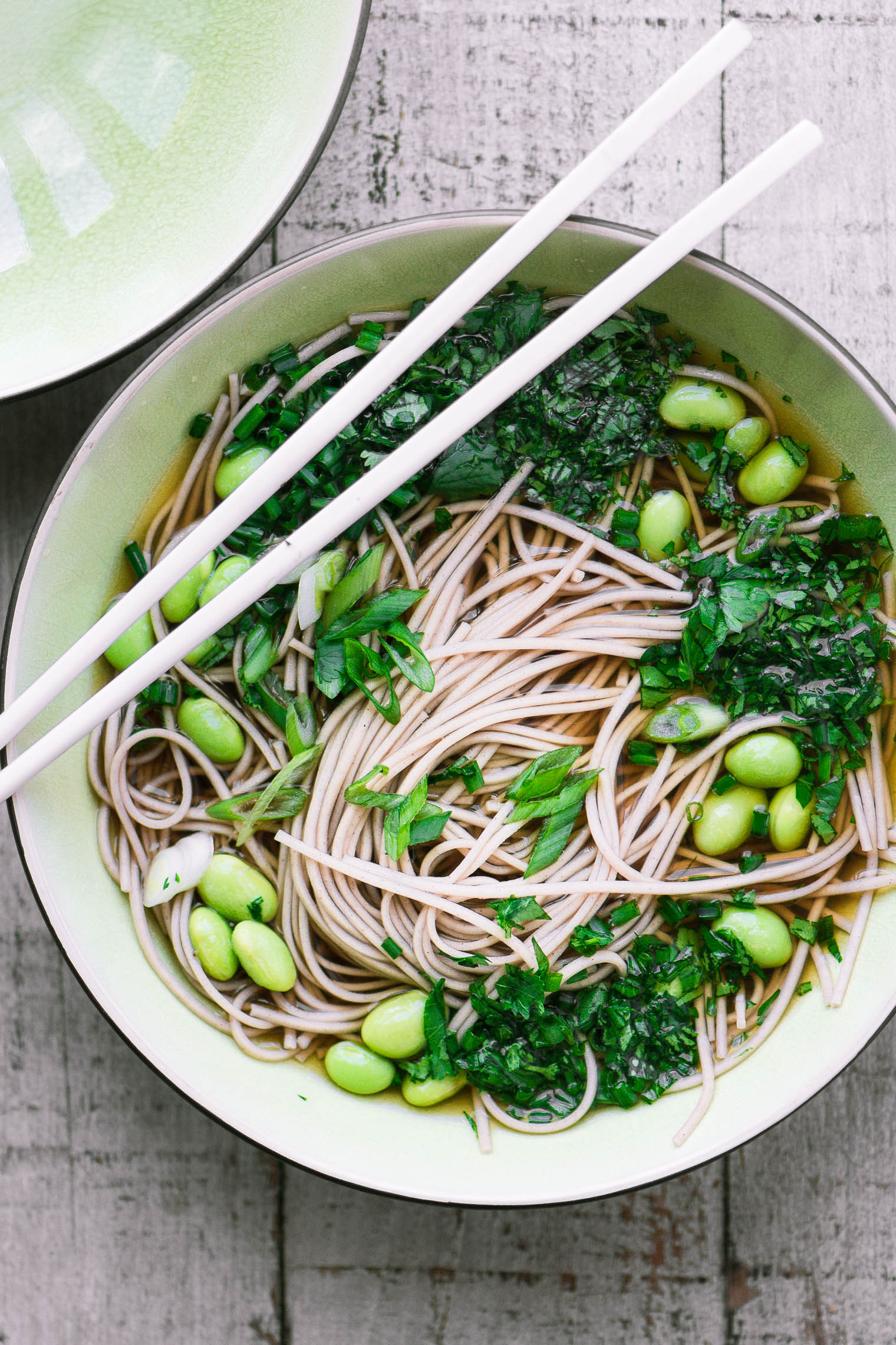 Easy Bone Broth Noodle Bowl with Herbs image