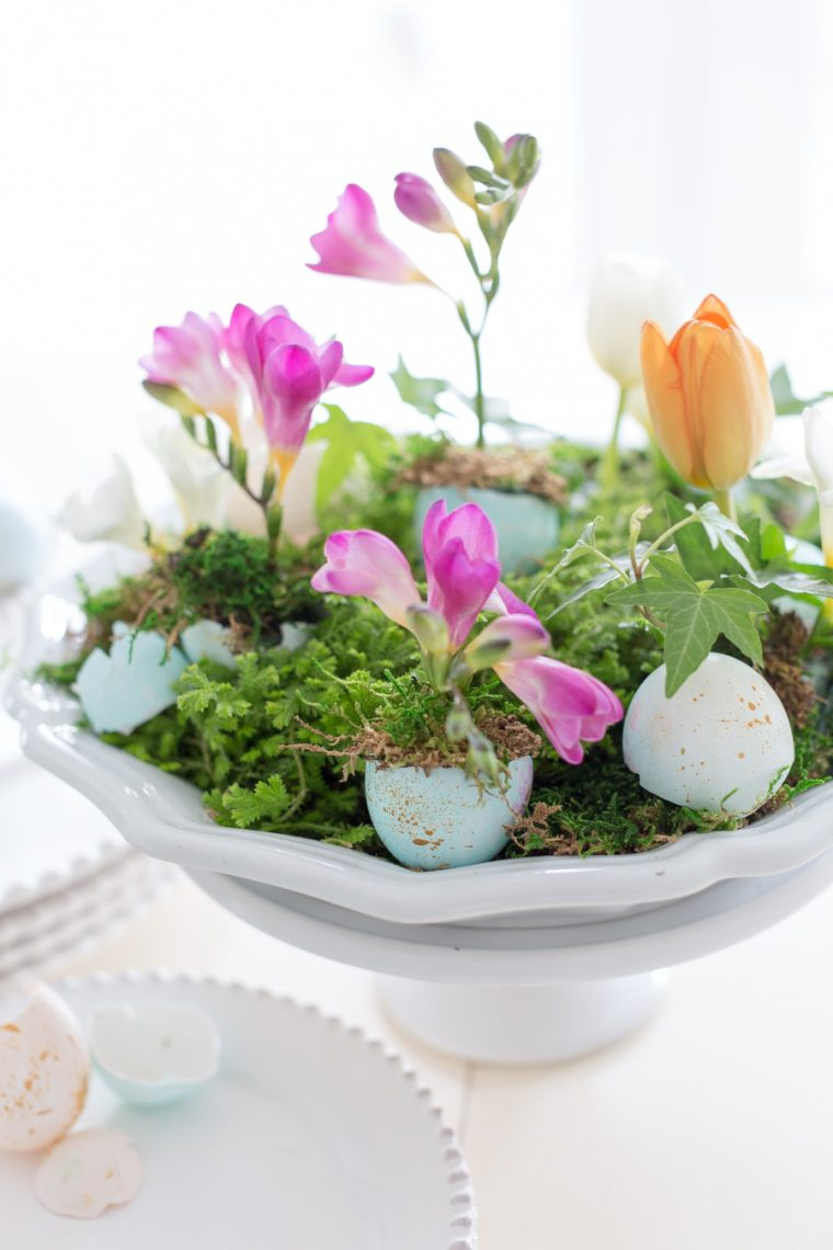 eggshells made into flower pots for spring table