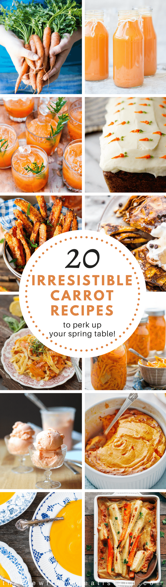 20 Yummy Carrot Recipes to Nibble on This Month ~ the focus is on carrots today with vibrant recipes ideal for Easter, Passover, Mother's Day, and beyond. #carrots #Easterrecipe #passoverrecipe #mothersdayrecipe #carrotcocktail #carrotsoup #carrotcake #carrotcupcakes #carrotjuice #carrotshrumb #roastedcarrots #carrotsouffle #carrotpasta #spiralizedcarrots