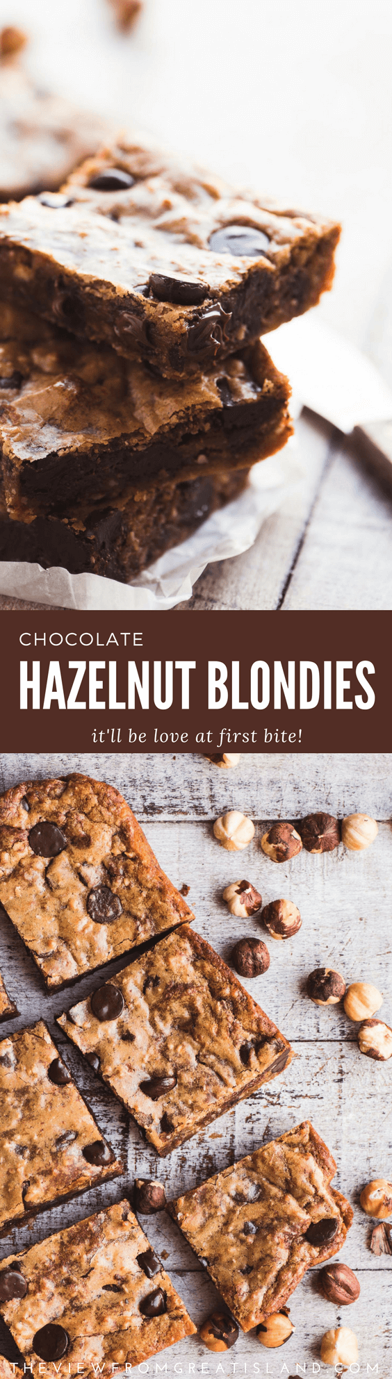 Outrageous Chocolate Hazelnut Blondies ~ these blondies are made with hazelnuts, Nutella, and dark chocolate chips for a truly unique flavor. #brownies #chocolate #hazelnut #nutella #blondies #bars #dessert #chocolatechips