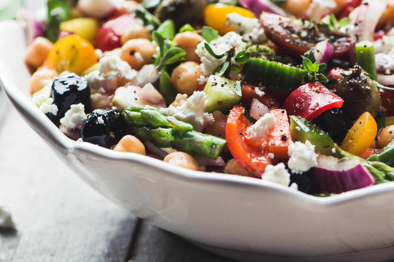 Chopped Asparagus Salad in a white bowl