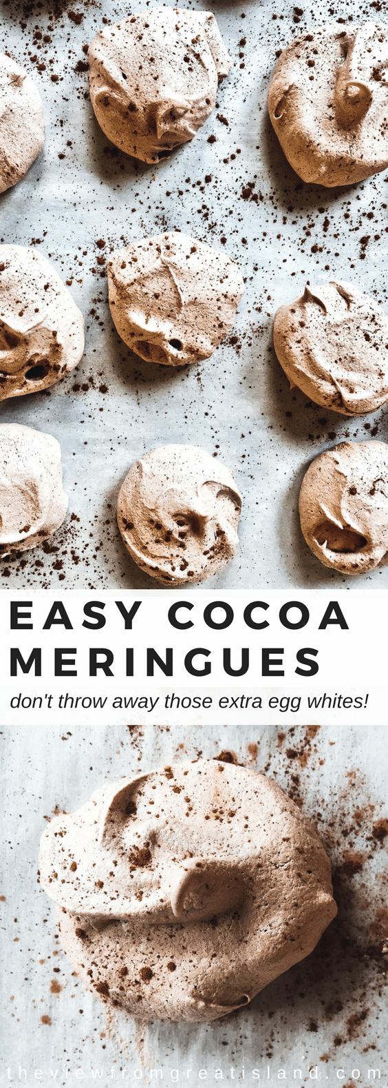These easy cocoa meringues are the minimalist of cookies ~ just a few simple ingredients whip up into something magical! Meringues are a naturally gluten free, fat free treat! #COOKIES #DESSERT #GLUTENFREEDESSERT #GLUTENFREE #CHOCOLATECOOKIES #CHOCOLATE #FATFREE #LOWCALORIE #GLUTENFREECOOKIES #EGGWHITES #MERINGUECOOKIES #HEALTHYDESSERT