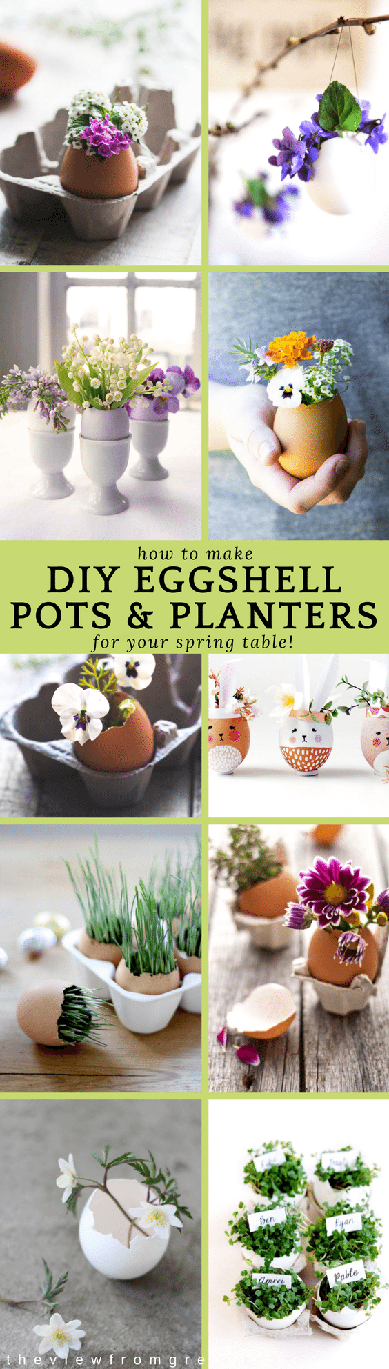 Simple eggshells can be used to make the most enchanting floral arrangements for Easter and springtime entertaining. #eggshells #eggcrafts #eggshellcrafts #easter #eastercraft #tablescape #Easterdecorating #flowers #hangingplanters #seedstarter #succulents #eggshellvases #eggshellplanters
