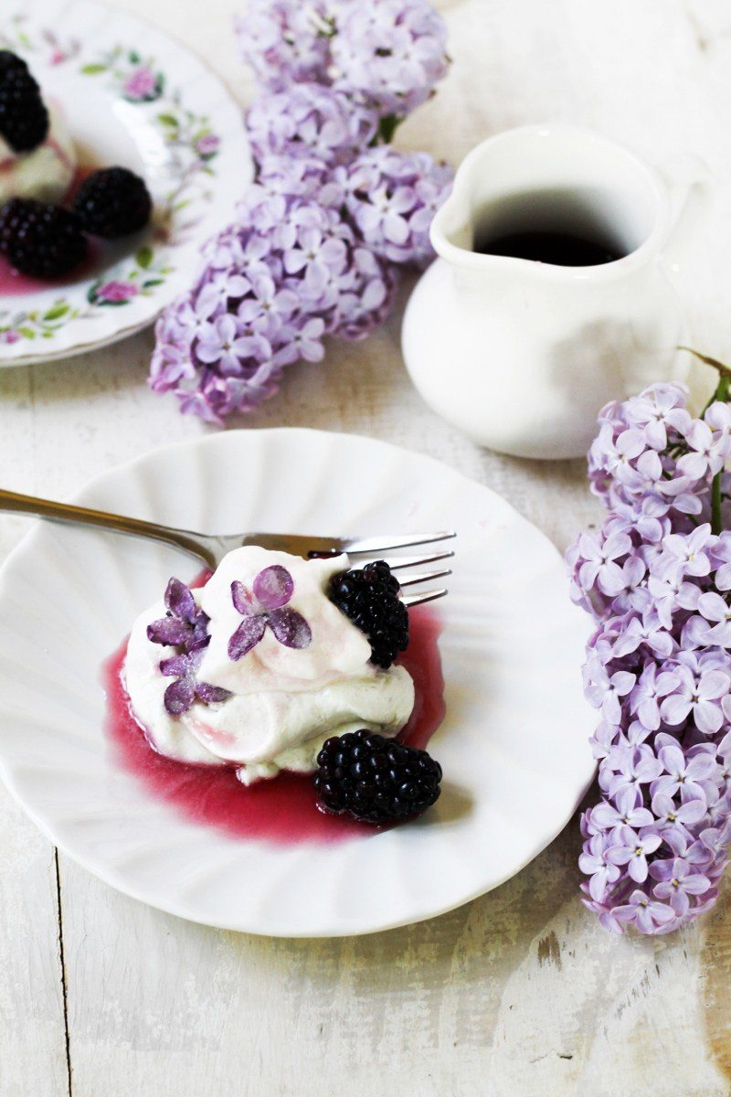 Lilac and blackberry pavlovas