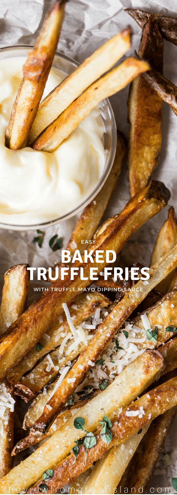 Baked Truffle Fries are a healthier, lower fat version of my current restaurant appetizer obsession ~ truffle oil and truffle salt give it an over the top decadent truffle flavor. #appetizer #frenchfries #truffles #truffleoil #trufflesalt #bakedfries