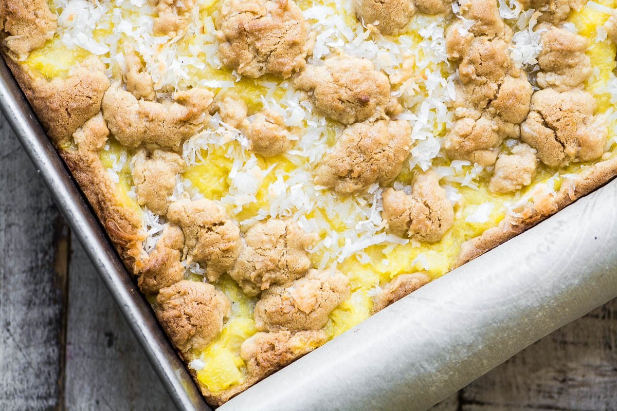 Pineapple Coconut Bars just coming out of the oven