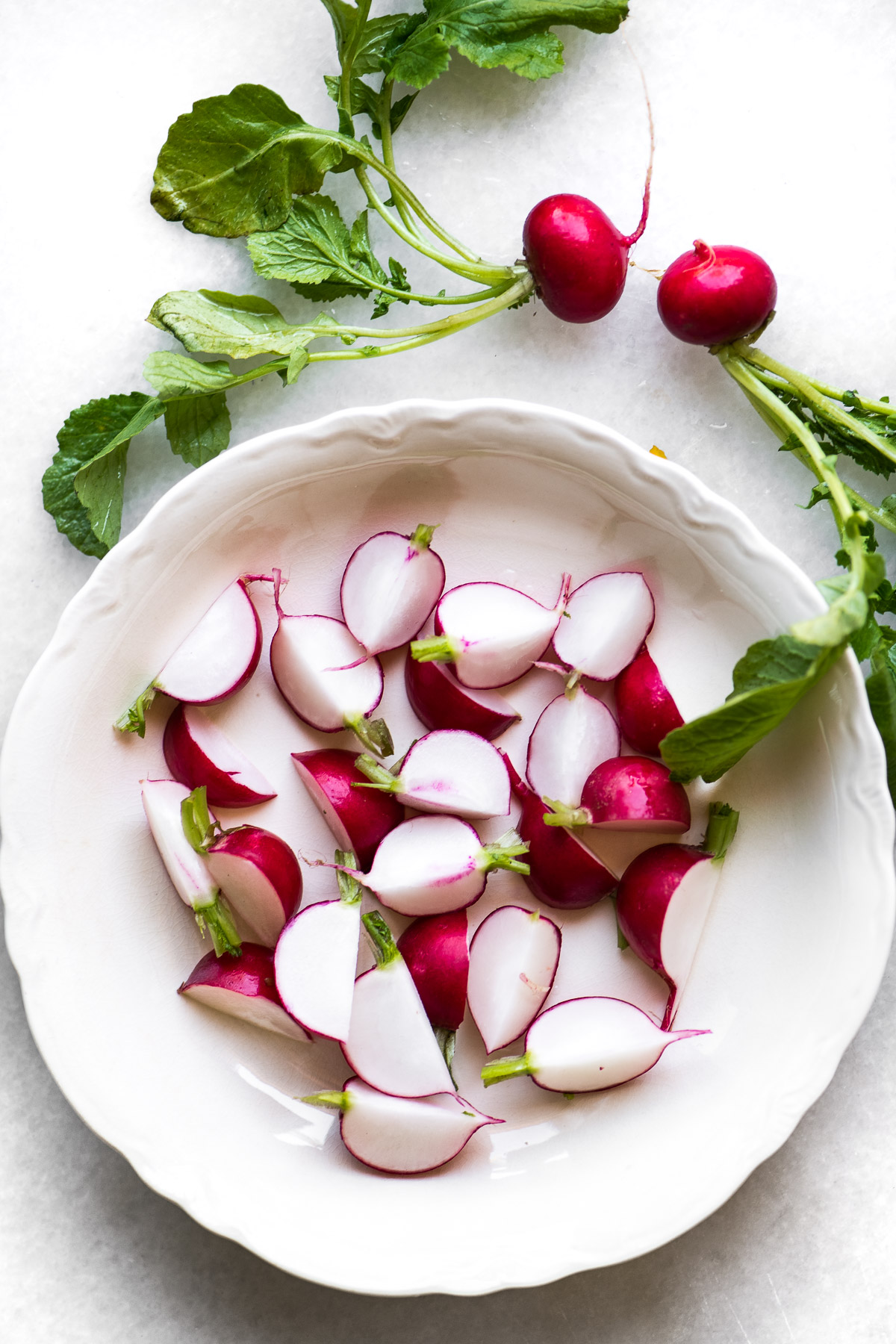 fresh radishes in a bowl